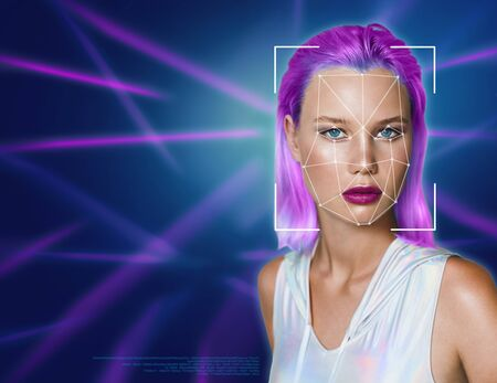 Portrait of a beautiful young woman in futuristic style against the background of ultraviolet lines.