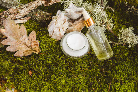 Natural eco-friendly organic cosmetics on the background of moss, leaves and tree bark. Ecofriendly concept. Stok Fotoğraf