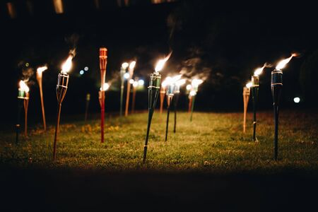 Torches at night in the grass with yellow flames and highlights