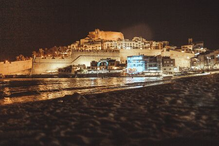 Night view of Peniscola Mediterranean town of the province of Castellon and Papa Luna Castle