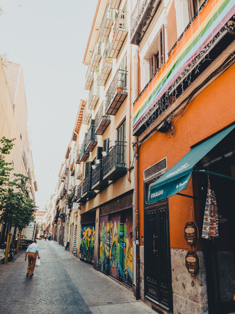 MADRID, SPAIN - JUNE 28, 2019: The streets of the city of Madrid are preparing to receive the gay pride 2019 Reklamní fotografie - 127255001