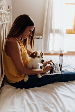 Beautiful woman sitting on the bed writing on the laptop with her dog Jack Russell terrier on her legs at sunset Banque d'images - 131857976
