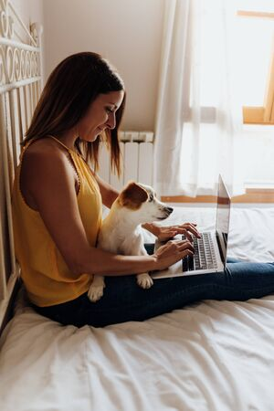Beautiful woman sitting on the bed typing on the laptop with her dog Jack Russell terrier on her legs at sunset