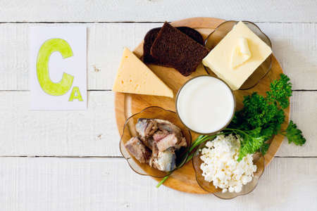 Products containing calcium: cheese, rye bread, butter, milk, sardines in oil, parsley, cottage cheese