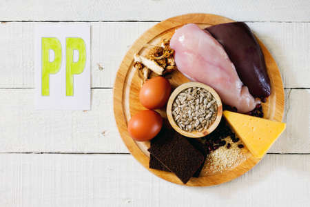 Foods containing vitamin PP: Meat, poultry, liver, dried mushrooms, eggs, sunflower seeds, beans, sesame, rye bread, cheese,