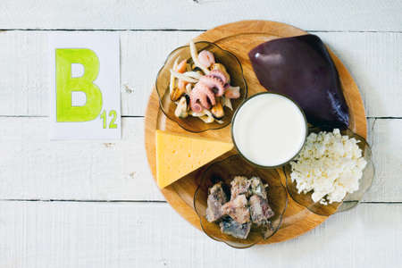 Foods that contain vitamin B 12: seafood, liver, milk, cheese, cottage cheese, sardines in oil