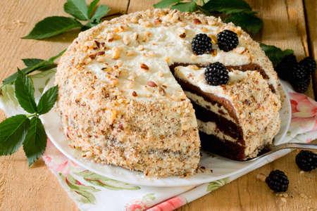 CAKE: Hecho en casa pastel de chocolate y mantequilla de queso crema en estilo rústico