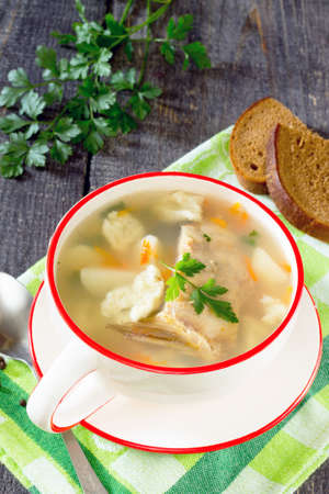 tench: Soup with fresh fish and dumplings in a rustic style
