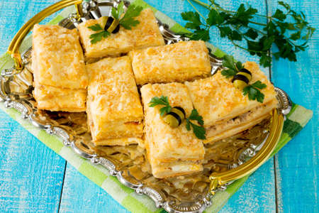 fresh food fish cake: Cake napoleon appetizer in a rustic style