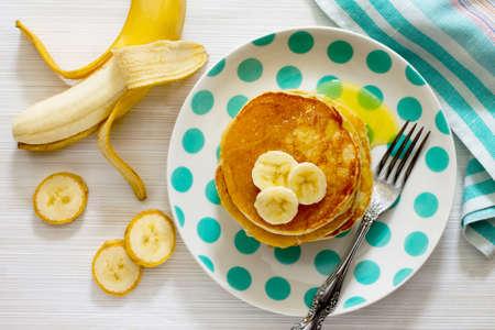 Traditional American banana pancakes, top view.
