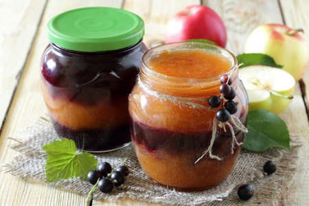 rustic food: Juice apple and currants in a rustic style, healthy food.