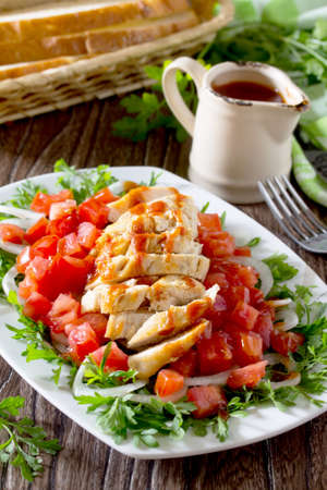 berro: Salad of grilled chicken with leafy vegetables, watercress salad, tomatoes, onions and tomato sauce.