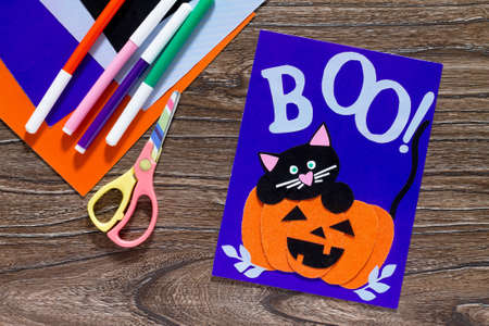 The Child Create A Birthday Card For Halloween Paper Black Cat