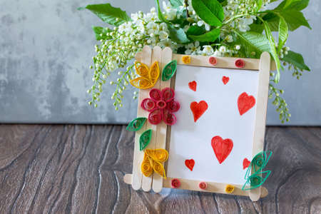 Childrens Gift From Wooden Sticks Photo Frame Birthday Greeting