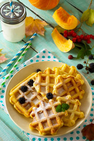 Breakfast table with pumpkin waffles, milk and fresh berries on a wooden kitchen table. Stock Photo