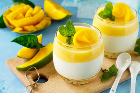 Mango Panna cotta with mango jelly and mint, Italian dessert, homemade cuisine. Standard-Bild