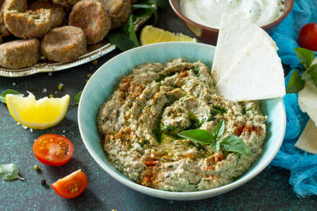 Homemade delicious and healthy protein vegan, vegetarian food, Ramadan food. Hummus with mung and tahini.