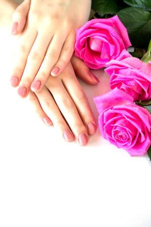 Beautiful manicured womans nails with pink polish isolated. Nails care. Manicure, pedicure beauty salon. Beautiful rose red blossoms. Free space for your text. 版權商用圖片