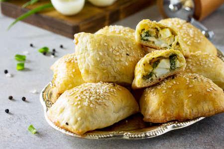 Cuisine traditionnelle russe. Oeuf de tartes et oignons verts sur table en pierre claire.