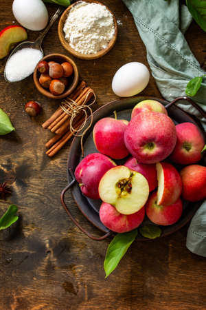 Apple baking seasonal concept. Ingredients for apple pie (red apple, flour, eggs, anise, sugar, hazelnut and cinnamon) on a rustic wooden table. Top view flat lay. Free space for your text. Imagens