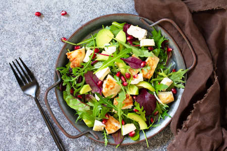 Salad with grilled chicken, avocado, brie cheese, arugula and pomegranate with vinaigrette dressing. Stock Photo