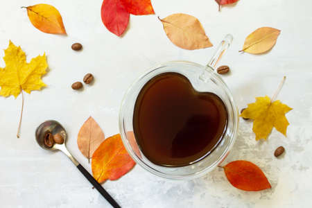 Autumnal concept with mup of Cup of hot coffee. Flat lay top view. Reklamní fotografie