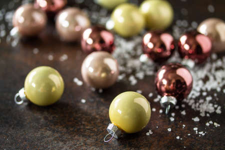 Christmas composition. Christmas glossy ball. Top view flat lay background.