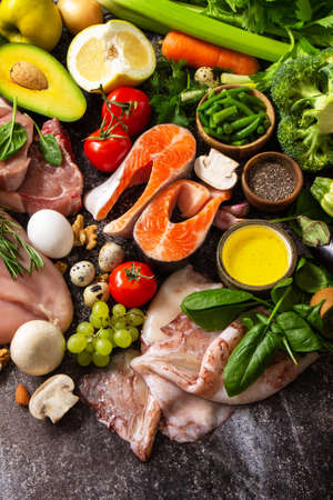 Ketogenic diet concept, ingredients for healthy food. Various balanced useful components healthy low carbohydrate foods. Copy space. Reklamní fotografie