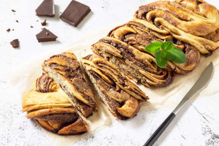 Fresh pastries, chocolate day. Chocolate babka or brioche bread. Sweet yeast dough with chocolate filling and accompanied and nuts. 免版税图像