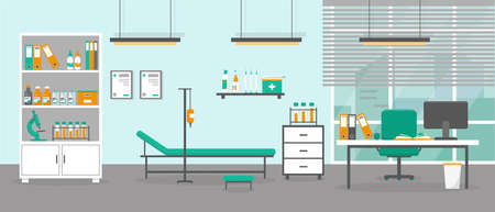 Doctor office interior. Medical cabinet or consultation room. Flat vector illustration.