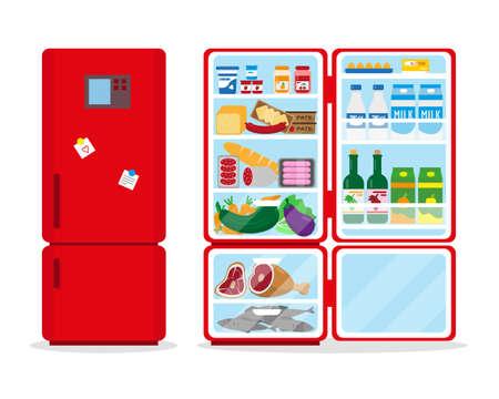 Closed and opened refrigerator full of food. Vector illustation. 일러스트