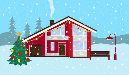 Paysage enneigé d'hiver. Maison de campagne, banc et arbre de Noël à l'extérieur. Illustration vectorielle.