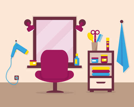 Beauty salon interior with furniture and accessories. Vector illustration.