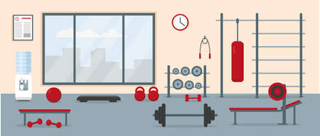 Gym interior with workout equipment. Fitness center training area. Vector illustration. Vector Illustratie