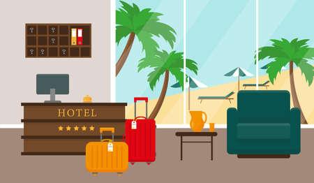Beach hotel reception interior. Hotel near the sea and beach. Vector illustration.