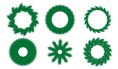 Different types of christmas wreath for decorate and New Year design. Vector illustration isolated on white background. Stock Illustratie