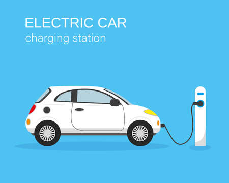 Electric car and charging station on blue background. Vector illustration.