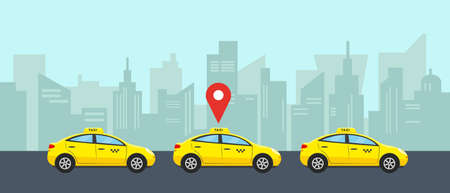 Taxi service concept. Three yellow cars in city for choise and rent. Vector illustration. Illustration