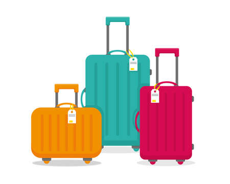 Bright travel suitcases isolated on the white background. Vector illustration.