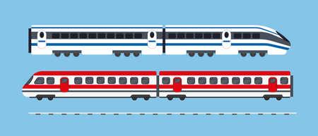 Conjunto de trenes expresos de pasajeros. Ilustración de vector de iconos de transporte de metro.