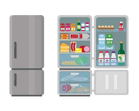 Closed and opened refrigerator full of food. Vector illustation. Illusztráció