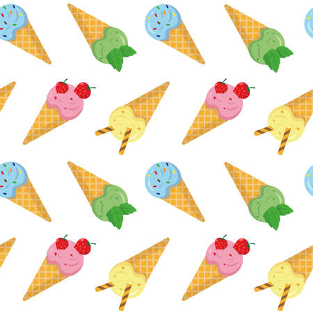 Seamless pattern with ice cream. Sweet ice cream in waffles on white background.