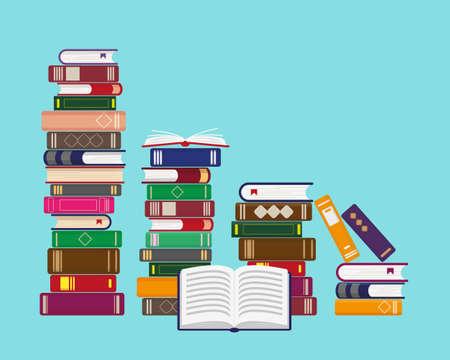 Pilas de libros sobre fondo azul. Concepto de lectura, educación o librería. Ilustración vectorial.
