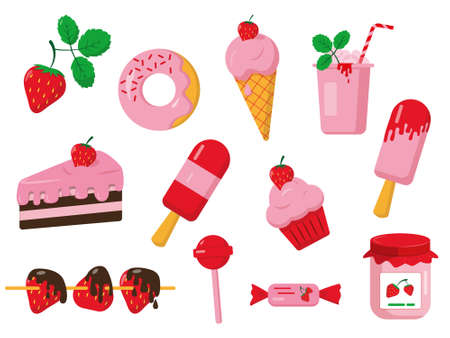 Set of strawberry desserts. Sweet vector icons isolated on white background.