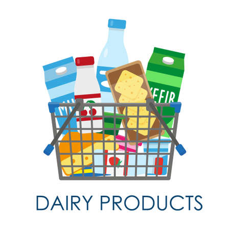 Shopping basket full of dairy products. Vector illustration. Çizim