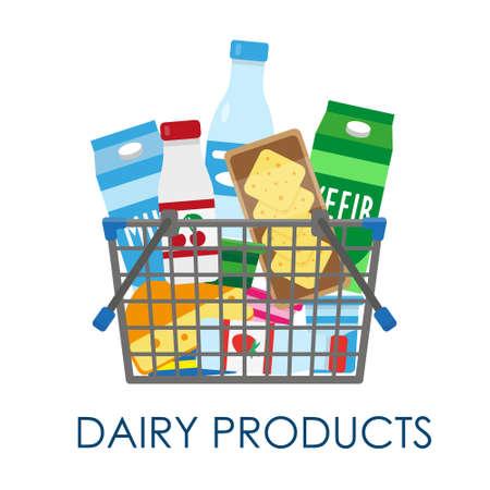 Shopping basket full of dairy products. Vector illustration. Illusztráció