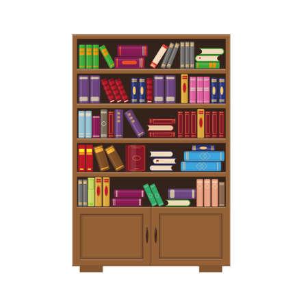 Bibliothèque en bois marron avec des livres. Illustration vectorielle pour le concept de bibliothèque, d'éducation ou de librairie. Vecteurs