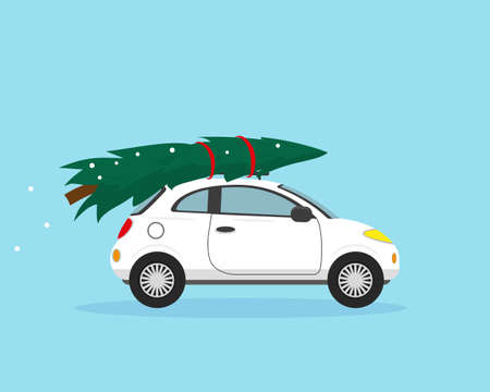 White car with Christmas tree on the roof. Christmas and New Year vector illustration. Ilustración de vector