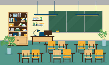 Class room interior with furniture, computer, lamps, school board and plant. Vector illustration.