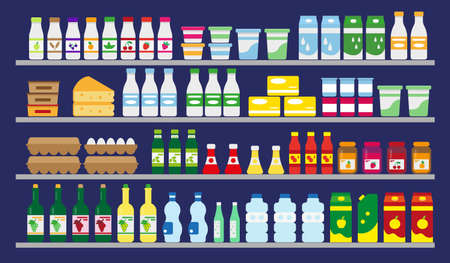 Supermarket shelves with food and drinks. Dairy, water, eggs, grocery and wine. Vector illustration.